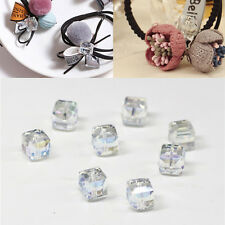 DIY 4mm/6mm Glass 10Pcs Square Crystal Faceted Loose Cube Spacer Beads