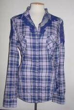 GUESS LOS ANGELES MS SIZE X-LARGE PURPLE COWGIRL PLAID LONG SLEEVE ALVA SHIRT