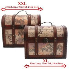 Treasure Chest Gift Boxes - Leather & Wood Trinket Trunks - Shabby Chic Storage