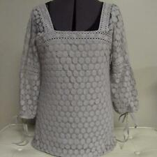 Womens SOLITAIRE peasant boho romantic blouse top shirt gray lace overlay S EUC