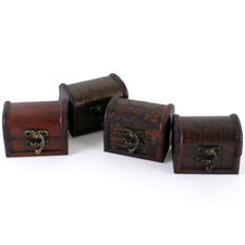 Set of 4 Tiny Treasure Chests ! Wooden Trinket Trunks - Ideal Wedding Favours