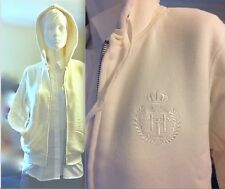 NWT Tommy Hilfiger Full Zip Logo Faux Shearling Lined Hoodie $89 NEW Ivory