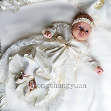Champagne Lace Toddler Baby Baptism Outfits Christening Gown Lace Dress + Bonnet
