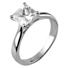 1.75 Ct Princess Cubic Zirconia Platinum EP Brass Engagement Wedding Solitaire