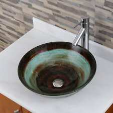 Elite 1511+2659 Space Tunnel Pattern Tempered Glass Bathroom Vessel SinkWith