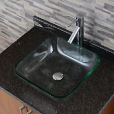 Square Tempered Glass Bathroom Vessel Sink With Faucet Combo