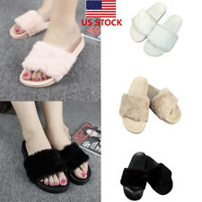 Ladies Faux Fur Slip On Flat Slippers Women Slide Mules Sandal Flip Flops Shoes