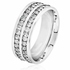 Men's Double Eternity Crystal High Polish Stainless Steel Comfort Fit Ring - 8mm
