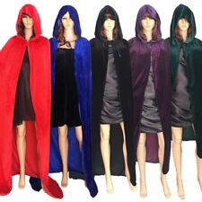 5 Colors Women Hooded Velvet Cloak Gothic Wicca Robe Medieval Larp Cosplay Cape