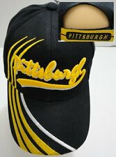 PITTSBURGH Baseball Cap Hat BLACK YELLOW Strap Back Curved Bill Ball Cap