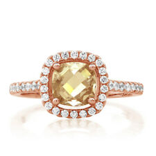 Rose Goldplated Sterling Silver Cushion-cut Citrine Cubic Zirconia Ring