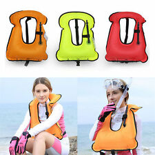 Inflatable Swimming Life Jacket Boating Survival Buoyancy Vest Snorkel 7962