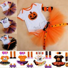Newborn Toddler Baby Girl Party Romper Tutu Skirt Pumpkin Dress Halloween Outfit