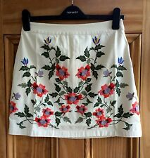 Topshop New Cream Ivory Floral Embroidered Cotton Mini Skirt Size 6 8 10 RRP £36
