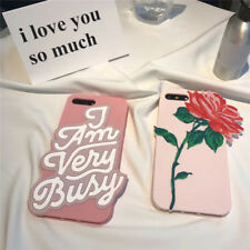 3D Rose Flower I'm Very Busy Soft Silicone Case Cover for iPhone 6 6S 7 Plus Hot