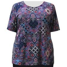 A Personal Touch Women's Plus Size Periwinkle Paisley Garden Top