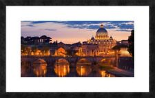 Global Gallery 'Night View at St. Peter's cathedral, Rome' Framed Graphic Art