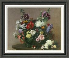 'A Bouquet of Mixed Flowers' by Henri Fantin-Latour Framed Painting Print