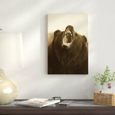 'Grizzly Bear Close Up of Growling Face' Photographic Print on Wrapped Canvas