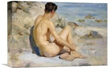 'Boy on a Beach' by Henry Scott Tuke Painting Print on Wrapped Canvas