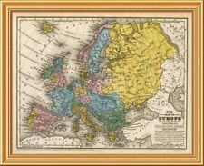 East Urban Home 'Map of Europe, 1839' Framed Graphic Art Print on Canvas