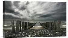 Global Gallery 'Sea Defense' by Leon Photographic Print on Wrapped Canvas
