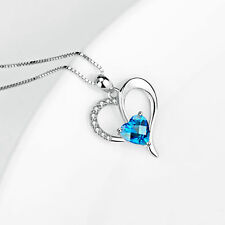 925 Sterling Silver Eternity Love Heart Necklace Crystal Pendants / Silver Chain