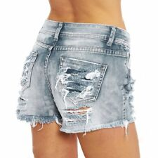 Women Summer High Waisted Washed Ripped Hole Short Mini Jeans Denim Pants Shorts