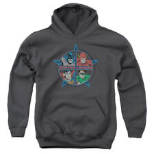 Justice League Four Heroes Big Boys Youth Pullover Hoodie CHARCOAL