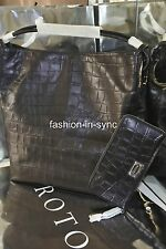Oroton Kiera Croc Large Hobo Bag with Wallet Option Black Leather New  RRP $990