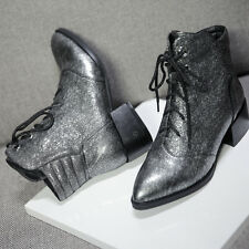 "Nice 1.3"" Heel Women's Shoe Cowhide Leather Ankle Boot Ladies' Lace up Bootie"