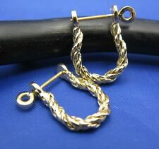 14k Yellow Gold Braided Twisted Rope Nautical Beach Pirate Shackle Earring Pair