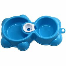 Double Dish Pet Water Food Diner Bowl Puppy Kittens Dog Cat Plastic Bear Style