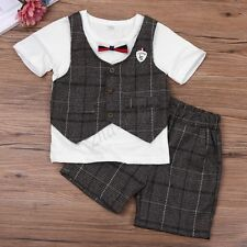 Infant Baby Boys Wedding Christening Tuxedo Suit Outfit T-shirt Pants Clothes