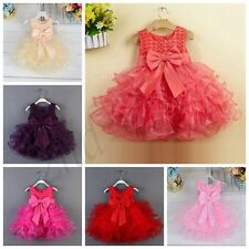 Flower Girl Bow Tutu Dress Toddler Baby Princess Party Wedding Tulle Gown 3-24 M