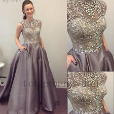 Crystals Evening Dresses Sleeveless Formal Prom Gowns Party Cocktail 2017 Custom