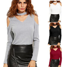 Sexy Women Long Sleeve Tops Off shoulder V-neck Casual T-shirt Blouse Fashion