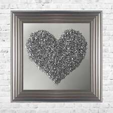 Heart Silver Cluster on Mirror Background