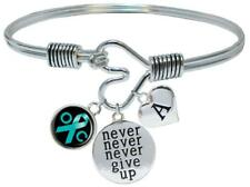 Custom Ovarian Cancer Awareness Never Give Up Bracelet Choose Initial Family