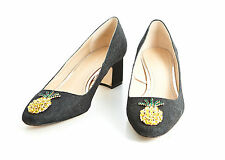 Zara Mid Heel Denim Shoes With Pineapple Detail Size Uk4/37 & Uk6/39 BNWT