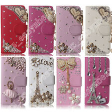 Bling Cover 3D Diamond Crystal Leather Flip Wallet Case Rhinestone For Samsung