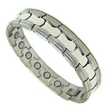 Accents Kingdom Men's Stainless Steel Magnetic Therapy Golf Bracelet M