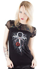 Spiral Clothing Gothic Occult Goth Vampire's Kiss Lace Mesh Top Ankh Immortal