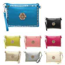 Women Lady PU Leather Evening Party Clutch Bag Wallet Purse Skull Stud Fashion