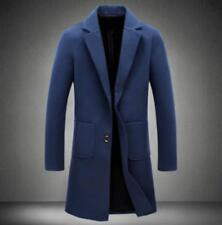 Mens Trench Long Parka Woolen Lapel Collar Overcoat Outwear Coat Jacket Slim Fit