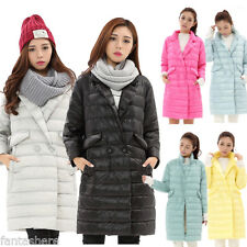 New Womens Ultra Light Duck Down Puffer Jacket Slim Long Parka Hooded Coat S-XL