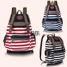 New Fashion Women Girls Backpack Canvas Stripe Leisure Bags School Bag