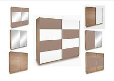 Miami Oak Sliding Wardrobe -With a Choice Of Coloured or Mirrored Panels