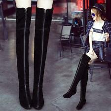 Womens Suede Leather Over Knee Thigh High Boots Hidden Wedge Heel Front Zip Shoe