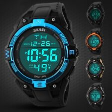 Fashion Mens Digital Quartz Wrist Watch LED Alarm Waterproof Sport Army Rubber